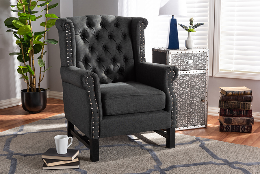 Charrette Gray Fabric Tufted Armchair | Baxton Studio
