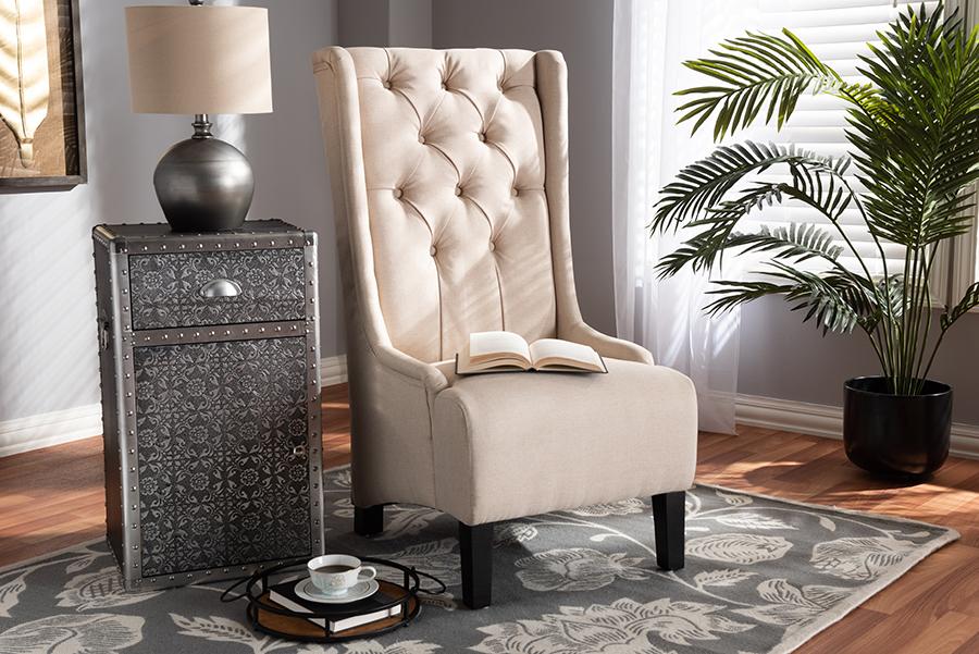 Dorais Beige Fabric Accent Chair | Baxton Studio