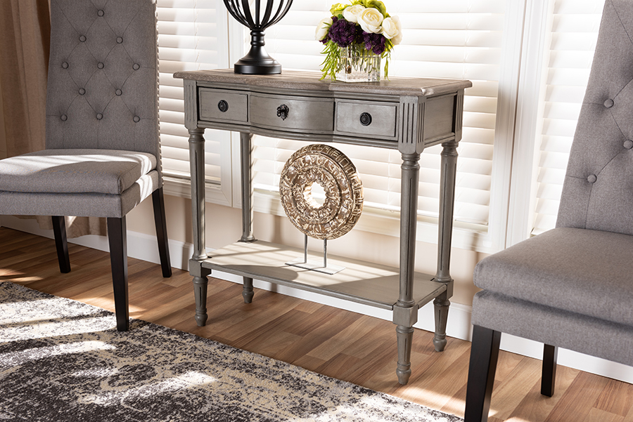 Noelle Gray 1 Drawer Wood Console Table | Baxton Studio