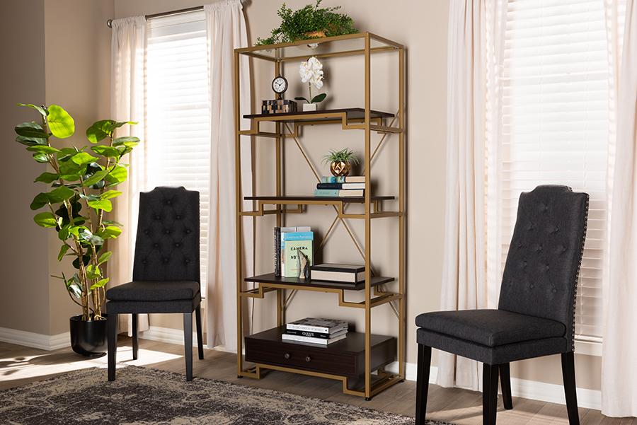 Cerelia Gold Tone Steel Dark Brown Wood 3 Shelf Accent Bookcase with Drawer   Baxton Studio