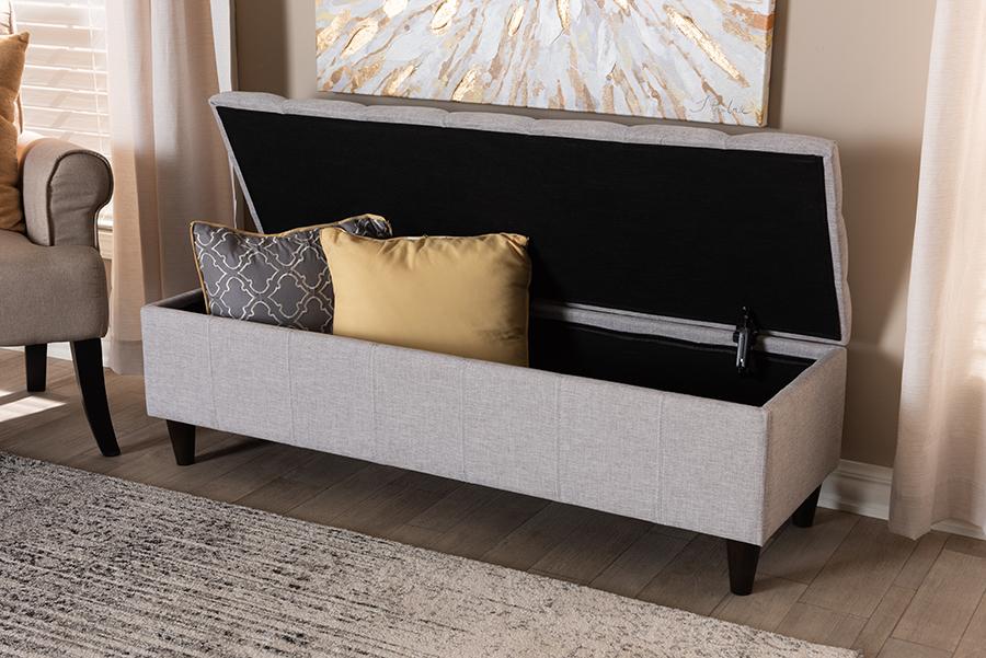 Brette Grayish Beige Fabric Dark Brown Wood Storage Bench Ottoman | Baxton Studio