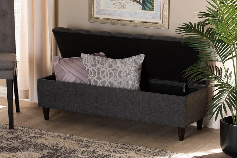 Brette Charcoal Fabric Dark Brown Wood Storage Bench Ottoman | Baxton Studio
