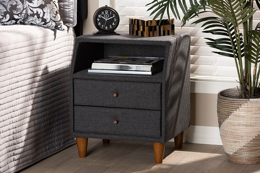 Claverie Charcoal Fabric 2 Drawer Wood Nightstand | Baxton Studio