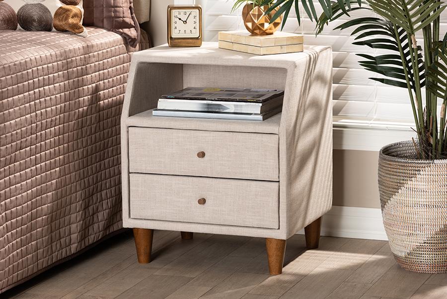 Claverie Beige Fabric 2 Drawer Wood Nightstand | Baxton Studio