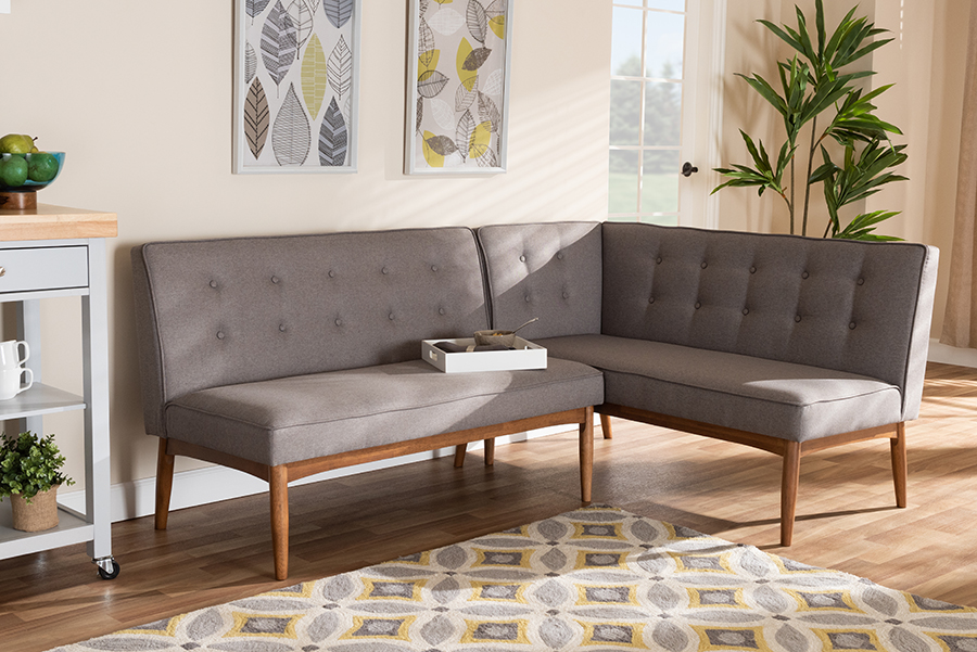 Arvid Gray Fabric 2-pc Wood Dining Nook Set | Baxton Studio