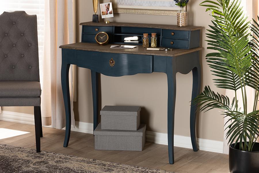 Celestine Blue Spruce Wood Accent Writing Desk   Baxton Studio