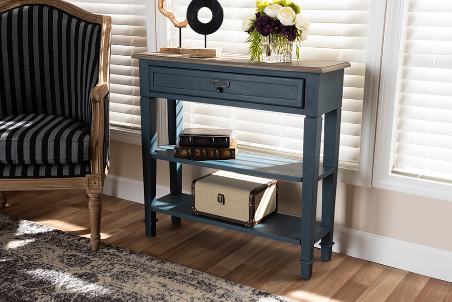 Dauphine Blue Spruce Fiinished Wood Accent Console Table   Baxton Studio