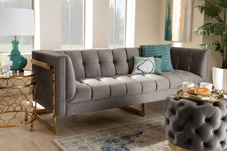 Ambra Grey Velvet Fabric Tufted Sofa with Gold Tone Frame   Baxton Studio