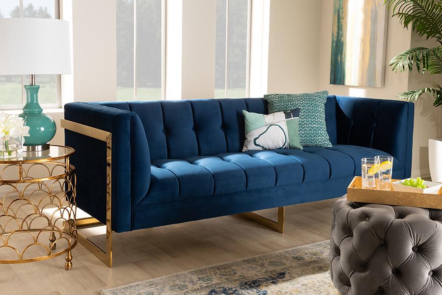 Ambra Royal Blue Velvet Fabric Tufted Gold Sofa with Gold Tone Frame   Baxton Studio