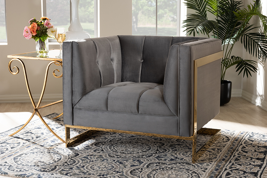Ambra Grey Velvet Fabric Tufted Armchair with Gold Tone Frame | Baxton Studio