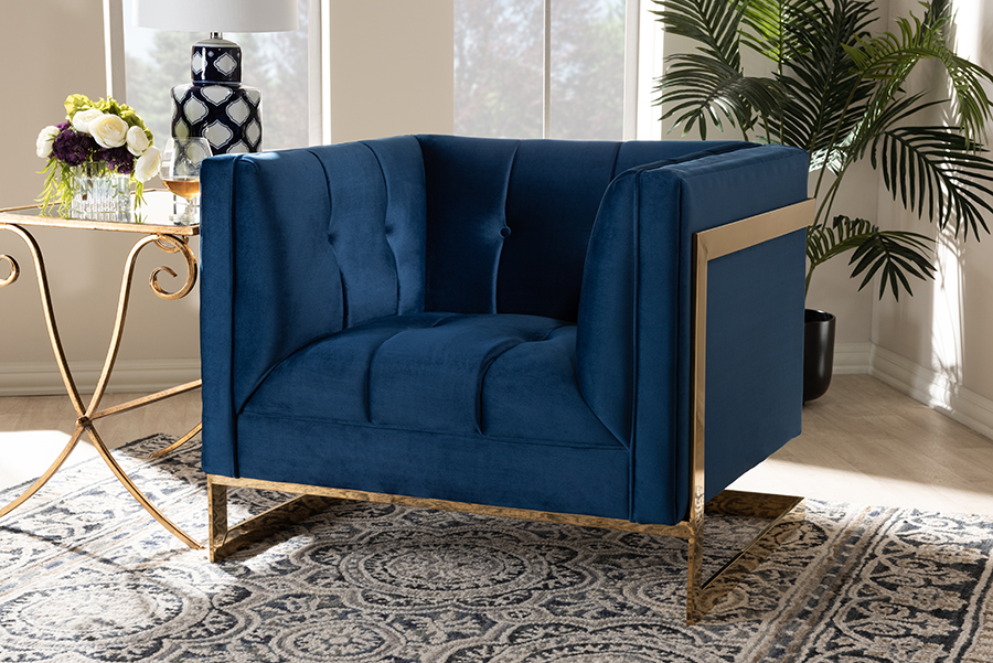 Ambra Royal Blue Velvet Fabric Tufted Armchair with Gold Tone Frame | Baxton Studio