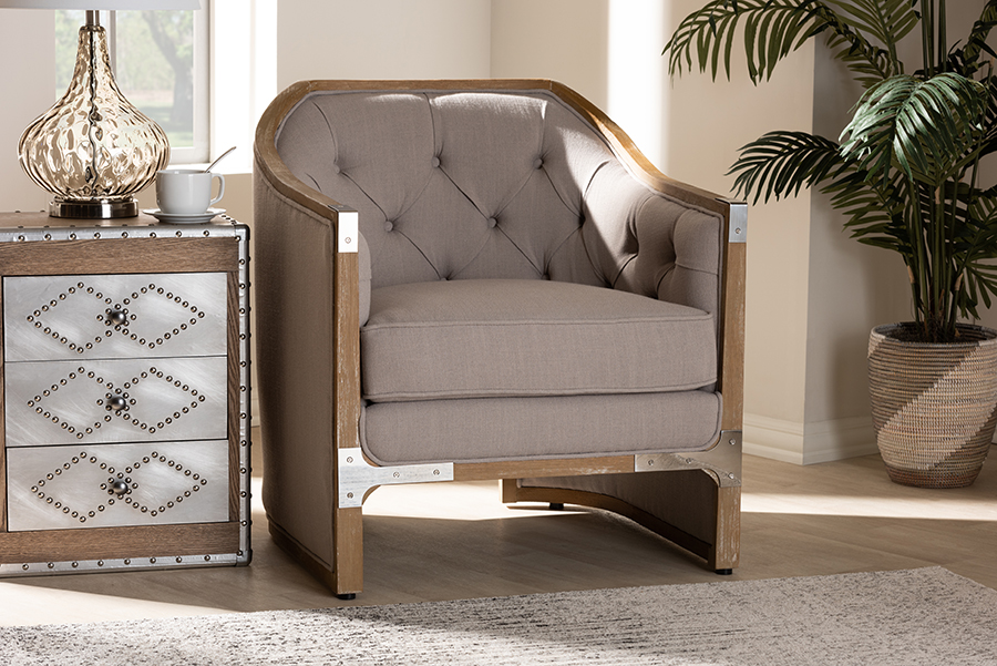 Terina Grey Beige Fabric Whitewashed Oak Wood Armchair with Metal Accents | Baxton Studio
