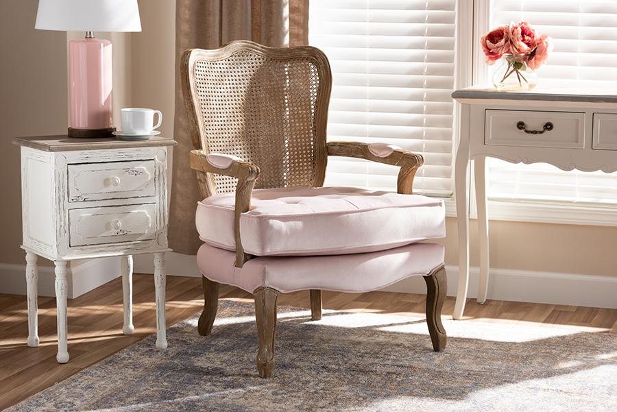 Vallea Provincial Light Pink Velvet Fabric White Washed Oak Wood Armchair | Baxton Studio