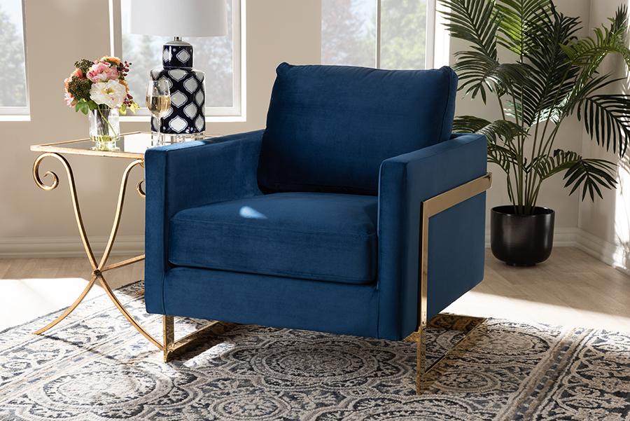 Matteo Royal Blue Velvet Fabric Gold Armchair | Baxton Studio