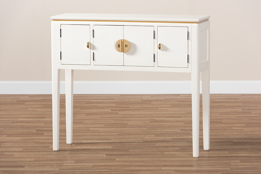 Aiko Off White 4 Door Wood Console Table   Baxton Studio