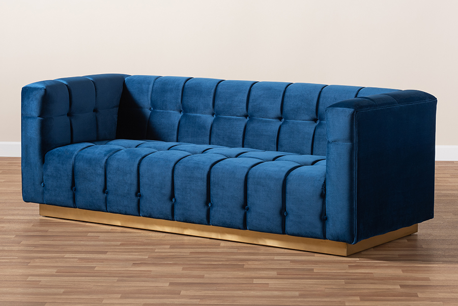Loreto Navy Blue Velvet Fabric Gold Sofa | Baxton Studio