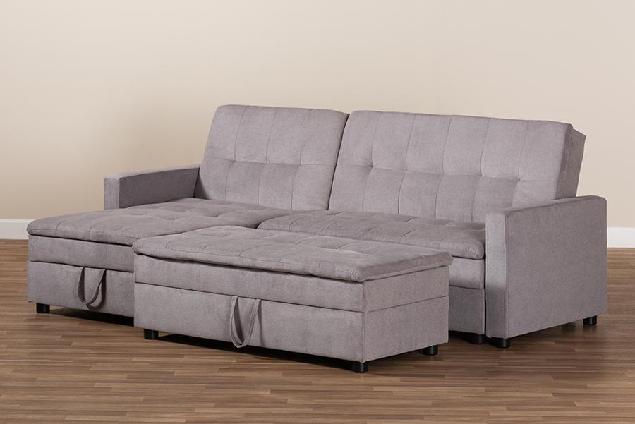 Noa Light Grey Fabric Left Facing Storage Sectional Sofa with Ottoman | Baxton Studio
