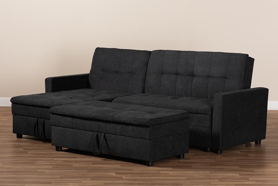 Noa Dark Grey Fabric Left Facing Storage Sectional Sofa with Ottoman   Baxton Studio