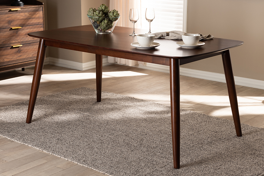Edna Walnut Wood Dining Table | Baxton Studio