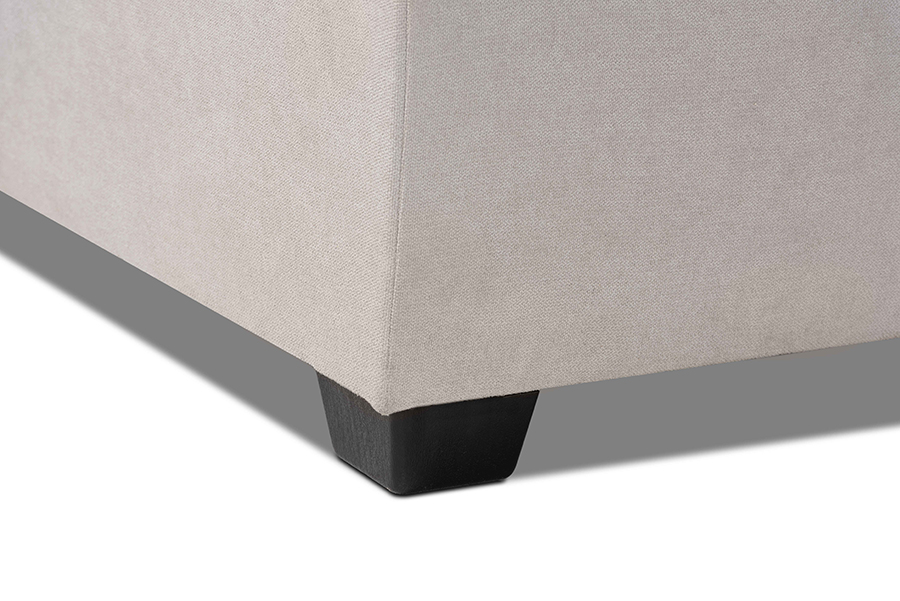 Emile Light Grey Fabric Right Facing Storage Sectional Sofa with Pull Out Bed | Baxton Studio