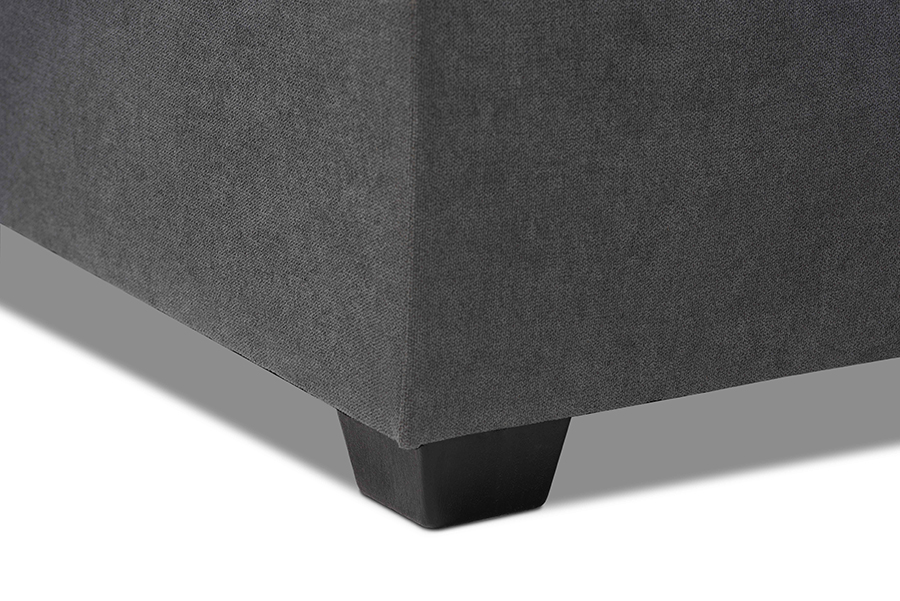 Emile Dark Grey Fabric Right Facing Storage Sectional Sofa with Pull Out Bed | Baxton Studio