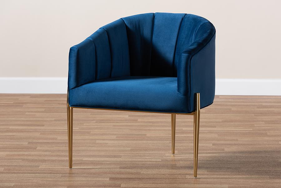 Clarisse Navy Blue Velvet Fabric Gold Accent Chair | Baxton Studio