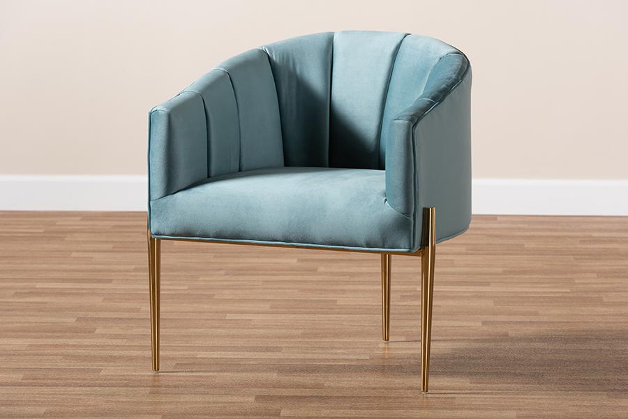 Clarisse Light Blue Velvet Fabric Gold Accent Chair | Baxton Studio