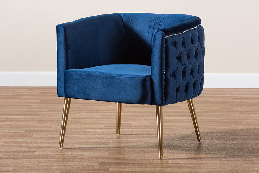 Marcelle Navy Blue Velvet Fabric Gold Accent Chair | Baxton Studio