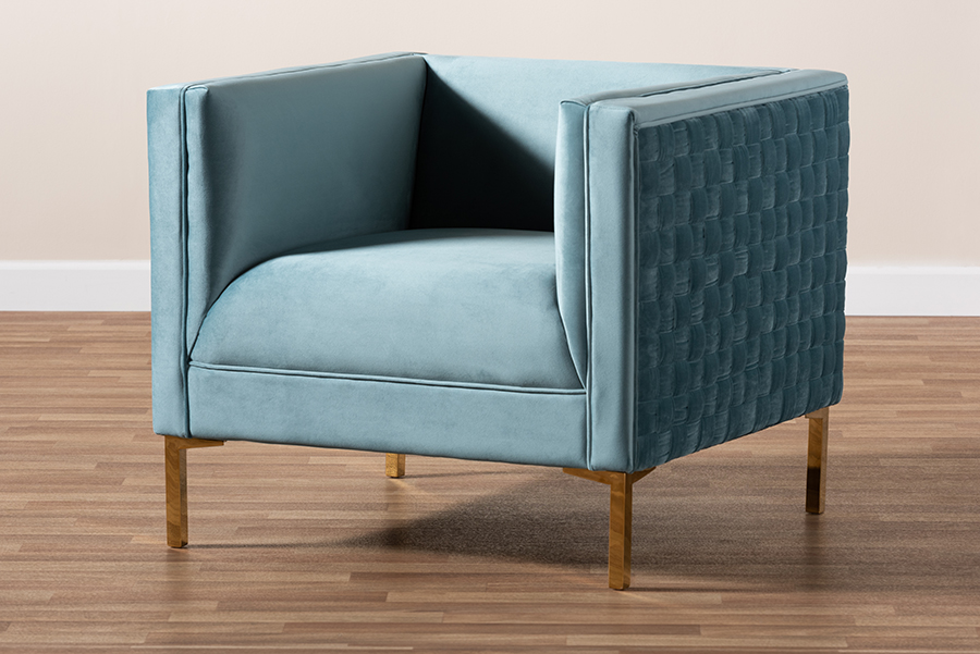 Seraphin Light Blue Velvet Fabric Gold Armchair | Baxton Studio