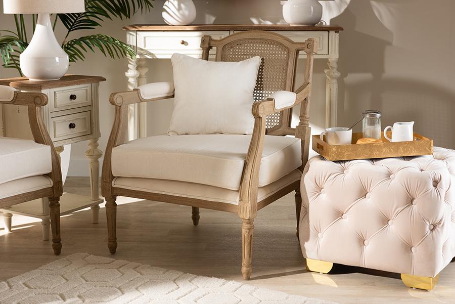 Clemence Ivory Fabric Whitewashed Wood Armchair | Baxton Studio