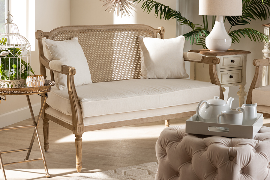 Clemence Ivory Fabric Whitewashed Wood Loveseat   Baxton Studio