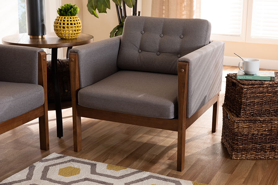 Lenne Grey Fabric Walnut Armchair | Baxton Studio