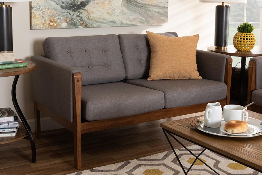 Lenne Grey Fabric Walnut Loveseat | Baxton Studio