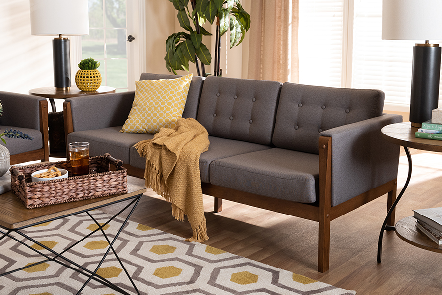 Lenne Grey Fabric Walnut Sofa   Baxton Studio