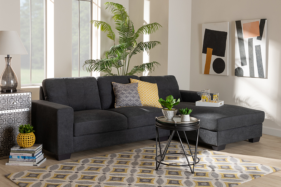 Langley Dark Grey Fabric Sectional Sofa with Right Facing Chaise | Baxton Studio