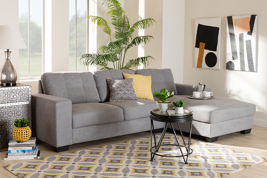 Langley Light Grey Fabric Sectional Sofa with Right Facing Chaise   Baxton Studio