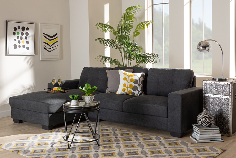 Langley Dark Grey Fabric Sectional Sofa with Left Facing Chaise | Baxton Studio
