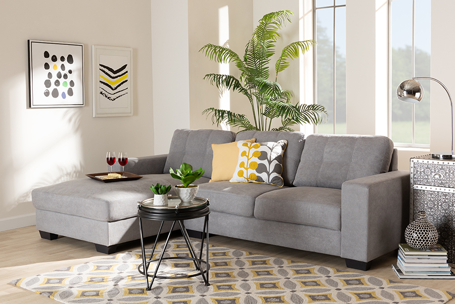 Langley Light Grey Fabric Sectional Sofa with Left Facing Chaise | Baxton Studio