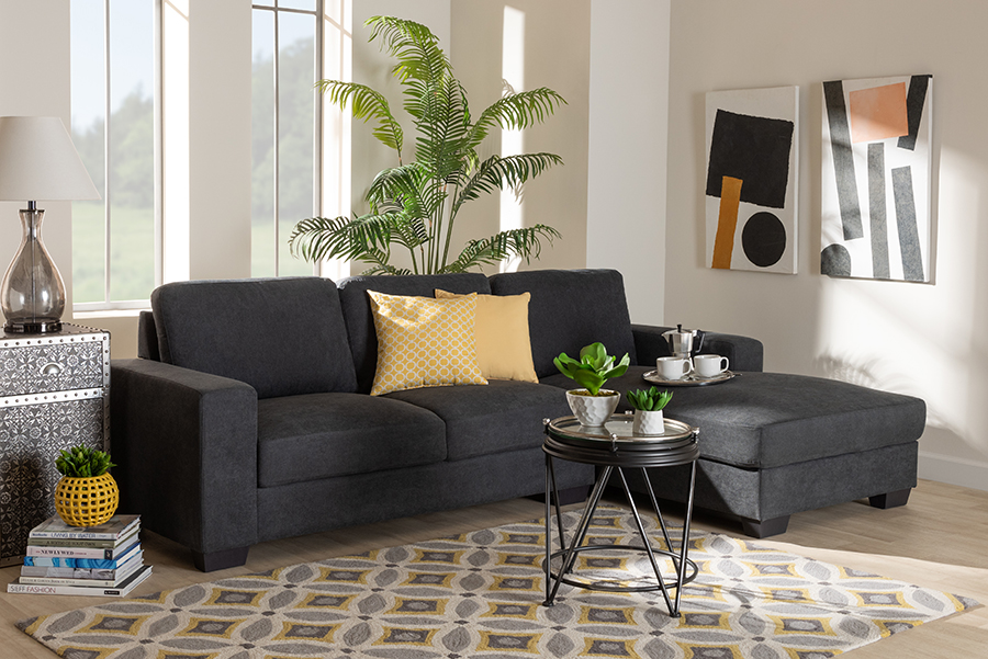 Nevin Dark Grey Fabric Sectional Sofa with Right Facing Chaise   Baxton Studio