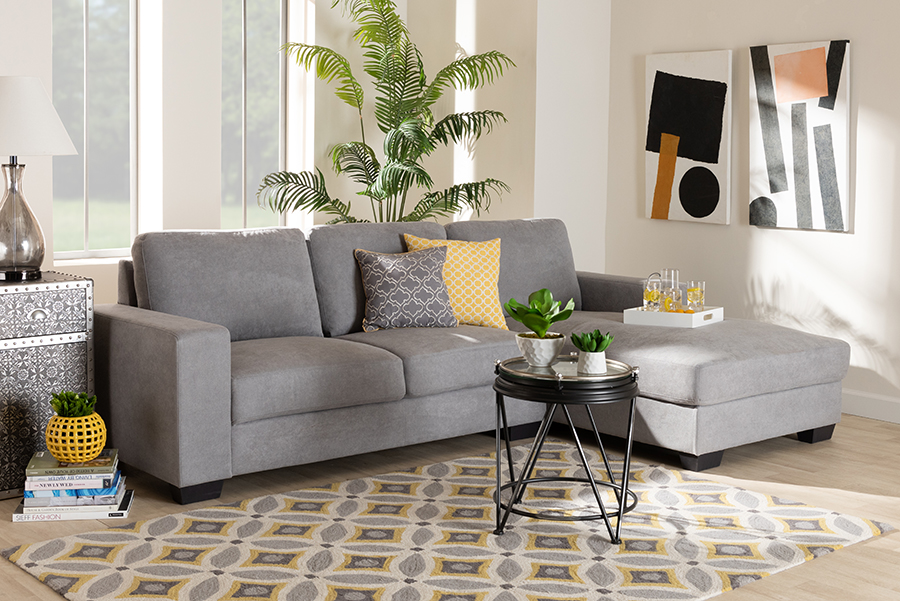 Nevin Light Grey Fabric Sectional Sofa with Right Facing Chaise | Baxton Studio