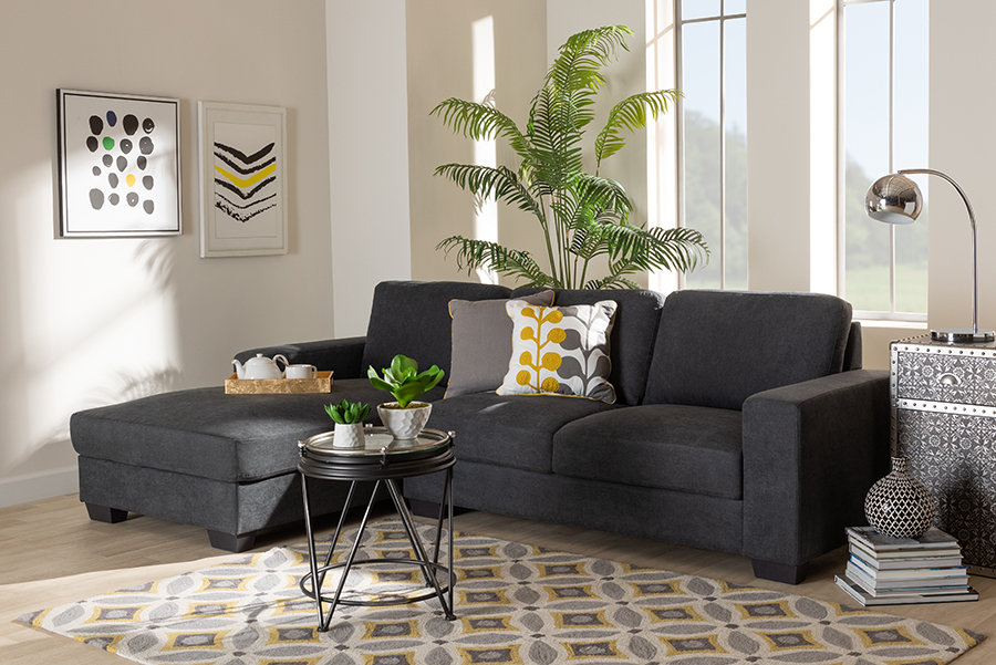 Nevin Dark Grey Fabric Sectional Sofa with Left Facing Chaise | Baxton Studio