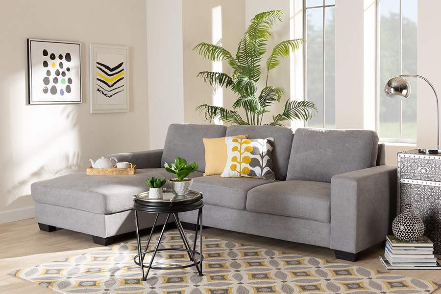 Nevin Light Grey Fabric Sectional Sofa with Left Facing Chaise | Baxton Studio