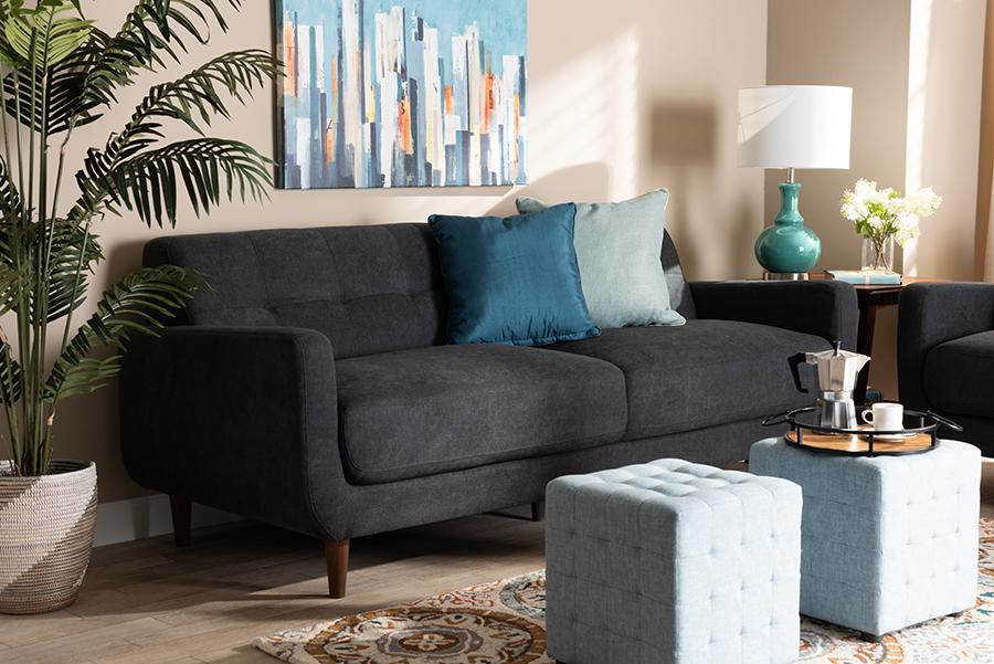 Allister Dark Grey Fabric Sofa   Baxton Studio