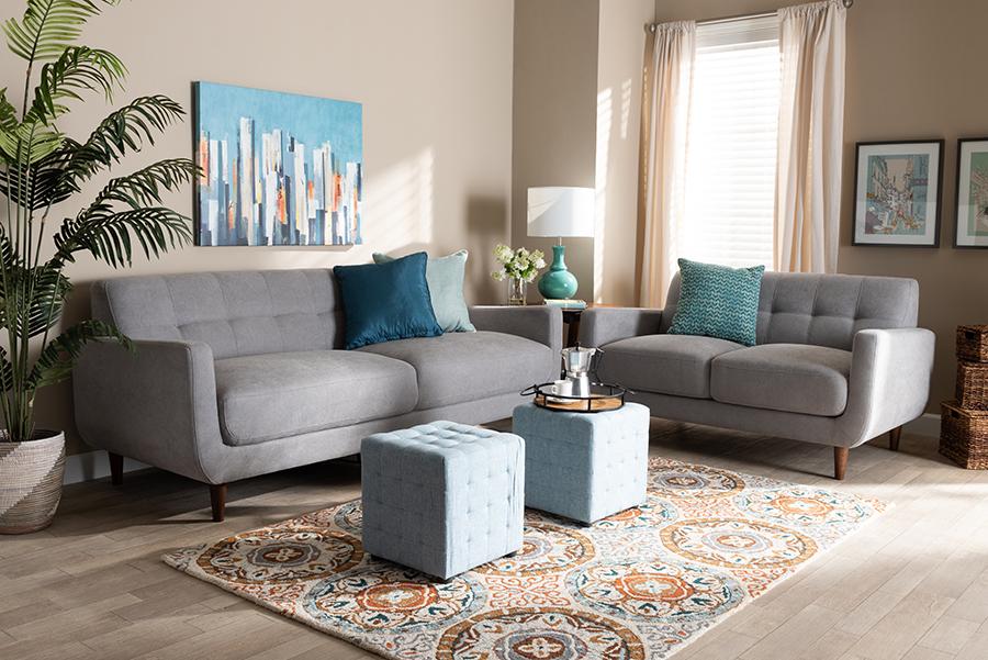 Allister Light Grey Fabric 2-pc Living Room Set   Baxton Studio