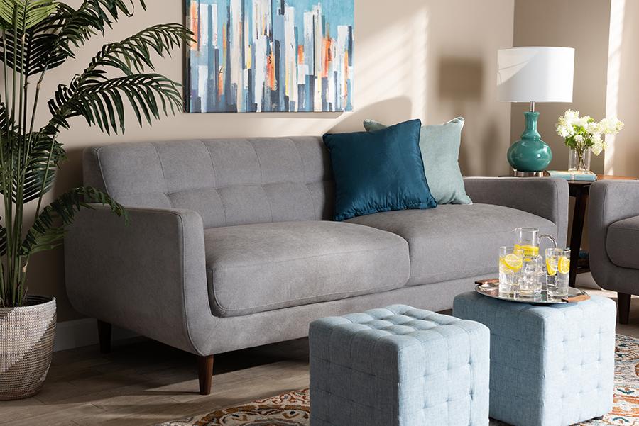 Allister Light Grey Fabric Sofa | Baxton Studio