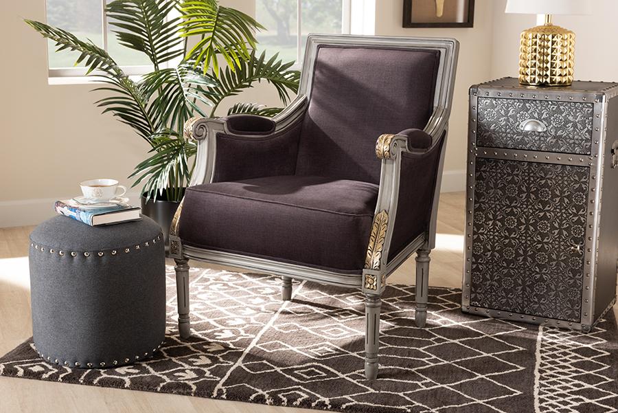 Georgette Brown Velvet Grey Armchair with Goldleaf Detailing | Baxton Studio