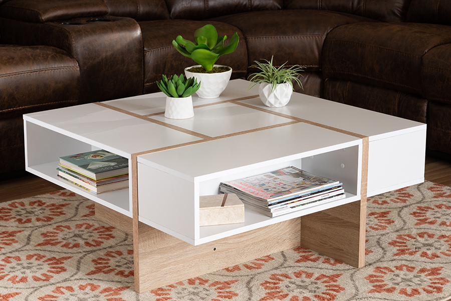 Rasa White Oak Wood Coffee Table | Baxton Studio