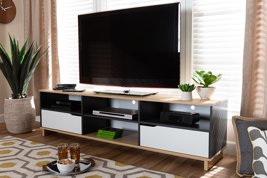 Reed Multicolor 2 Drawer Wood TV Stand | Baxton Studio