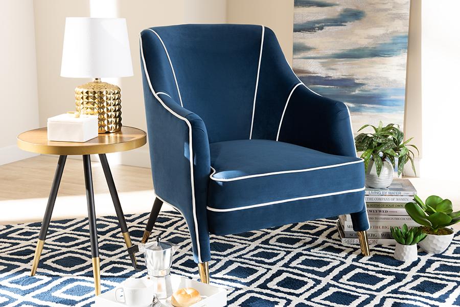 Ainslie Navy Blue Velvet Fabric Gold Armchair | Baxton Studio
