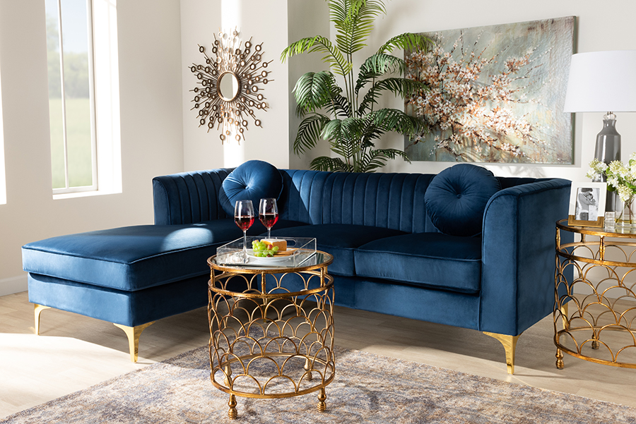 Giselle Navy Blue Velvet Fabric Mirrored Gold Left Facing Sectional Sofa with Chaise | Baxton Studio